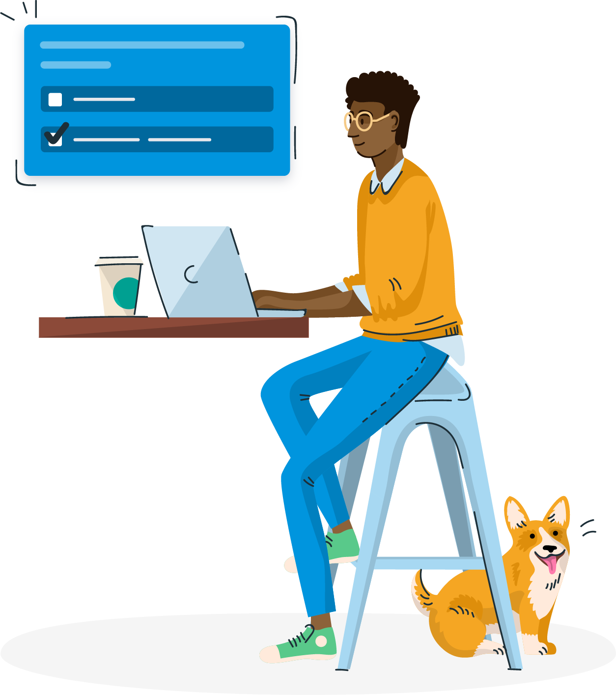 Illustration of a person using a computer.