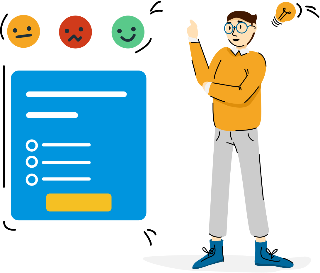 Illustration of a person thinking about a survey question.